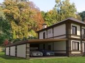 2х этажный дом с мансардой и панорамными окнами 273м2. Монолитное строительство загородных частных домов и коттеджей в Подмосковье